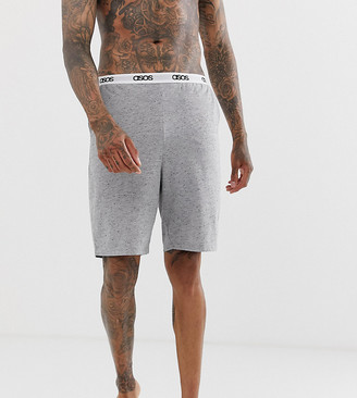 Asos Design DESIGN lounge pyjama shorts in grey marl nepp with branded waistband