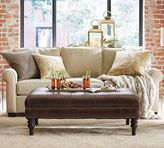 Pottery Barn Martin Tufted Leather Ottoman