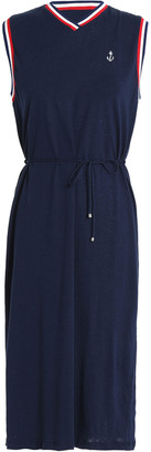 Zimmermann Meridian Anchor Belted Linen And Cotton-blend Jersey Dress
