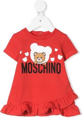 MOSCHINO BAMBINO Tedy Bear logo ruffled dress