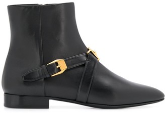Versace Buckled Pointed Toe Ankle Boots