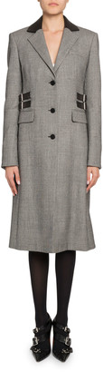 Altuzarra Plaid Leather-Collar Single Breasted Coat