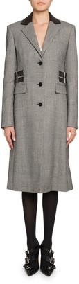 Altuzarra Plaid Leather-Collar Single Breasted Coat