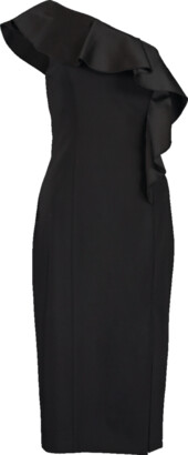 Michael Kors Collection One Shoulder Ruffle Sheath Back Dress