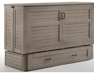 Rosecliff Heights Wilbur Queen Storage Murphy Bed with Mattress Color: Brushed Driftwood