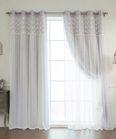 Best Home Fashion Lilac & Sheer Floral Lace Overlay Blackout Curtain Panel