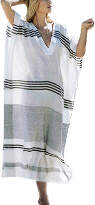 AiJump Women's Cotton Kaftan Tunic Beach Cover Up Swimwear Bathing Suit