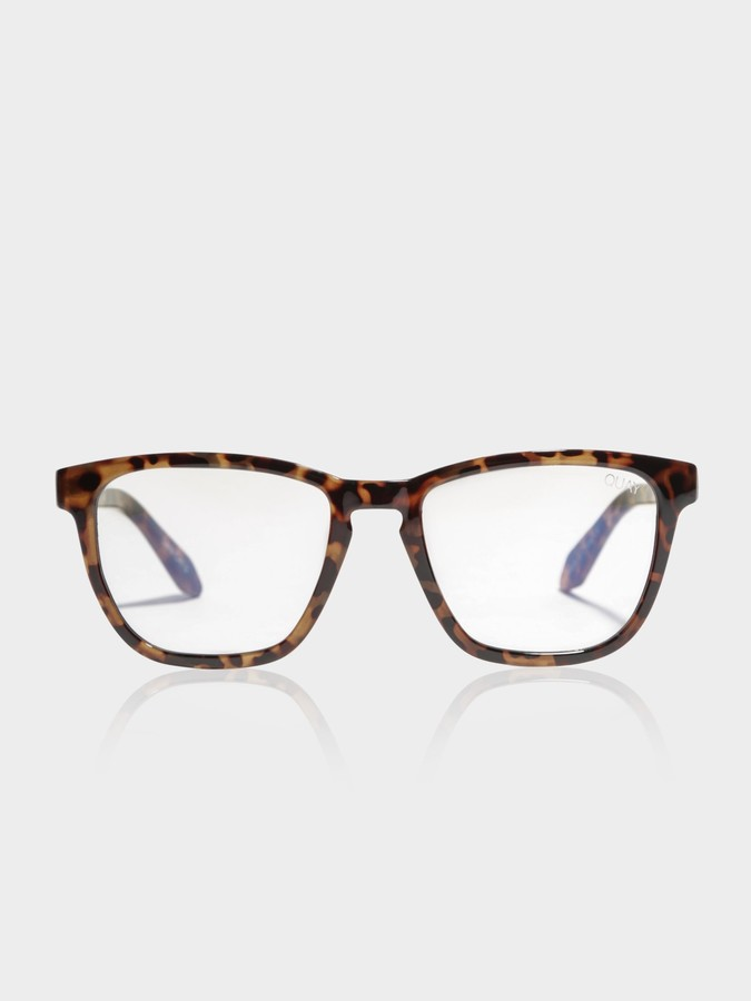 Quay Hardwire Blue Light Square Glasses in Tortoise