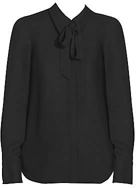Lafayette 148 New York Women's Diana Tie-Neck Silk Georgette Blouse