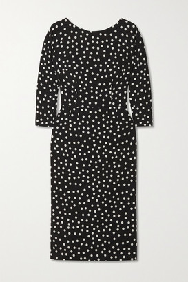Dolce & Gabbana Polka-dot Stretch-cady Midi Dress - Black