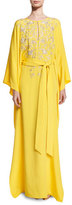 Oscar de la Renta Split-Neck Belted Silk Caftan Gown, Yellow