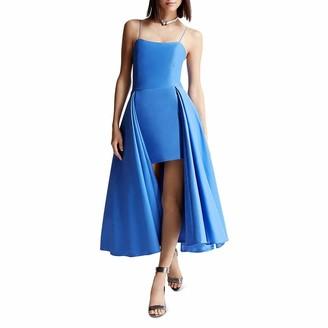 Halston Women's Structured Dress with Skirt Overlay