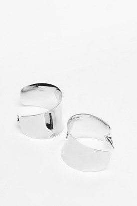 Nasty Gal Womens Thick Edge Hoop Earrings - Silver