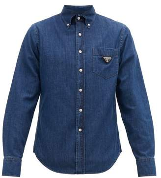 Prada Triangle-plaque Cotton-chambray Shirt - Mens - Blue