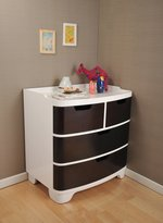 Bloom Luxo Dresser - White Frame With Cappuccino Drawers-Cappuccino