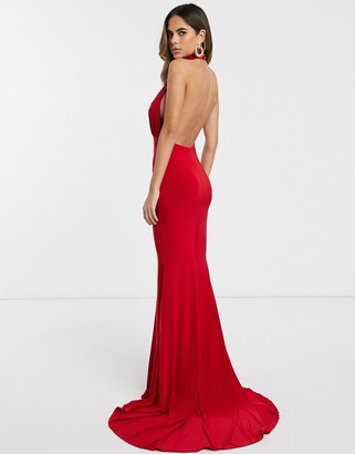 Club L London backless halterneck fishtail maxi dress-Red