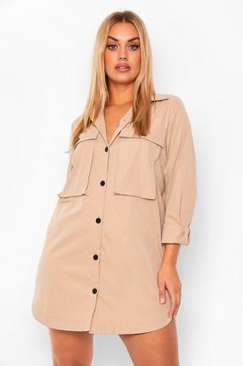 boohoo Plus Pocket Front Extreme Oversized Shirt Dress
