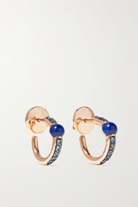 Pomellato M'ama Non M'ama 18-karat Rose Gold, Lapis Lazuli And Sapphire Hoop Earrings - one size