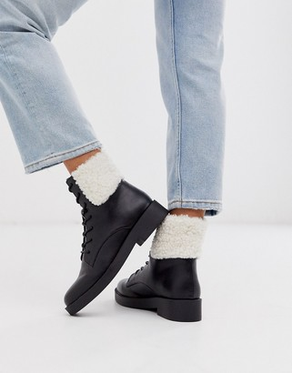 Asos DESIGN Audience borg lace up ankle boots