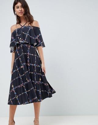 Asos Design DESIGN scuba midi pleated dress in check floral print