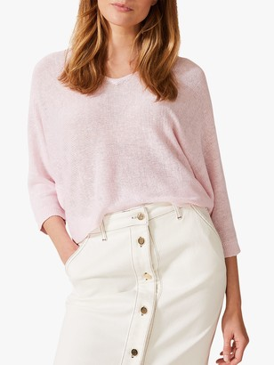 Phase Eight Delmi Linen Batwing V-Neck Jumper, Pale Pink