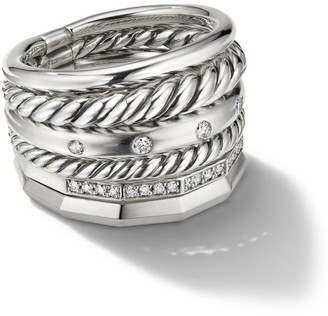 David Yurman Stax Wide Ring with Diamonds