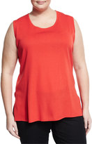 Misook Scoop-Neck Knit Tank, Bright Red, Plus Size