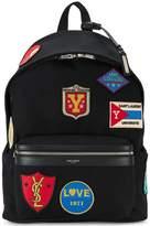 Saint Laurent City patch embellished backpack