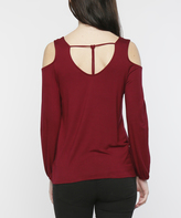 Burgundy T-Strap Back Cold Shoulder Top
