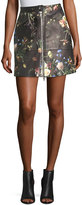 ADAM by Adam Lippes Floral-Print Leather Zip-Front Skirt