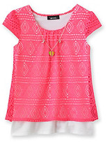 Amy Byer Girls' 7-16 Neon Pink Crochet Top with Attached Heart Necklace