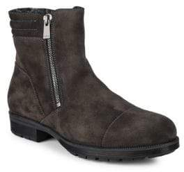Aquatalia Hugh Waxy Shearling-Lined Suede Ankle Boots