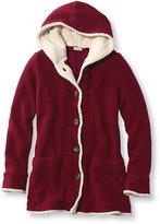L.L. Bean Women's Lined Sherpa-Trimmed Sweater Hoodie Misses Regular