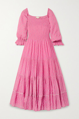 LoveShackFancy Rigby Shirred Floral-print Cotton-gauze Midi Dress - Bright pink