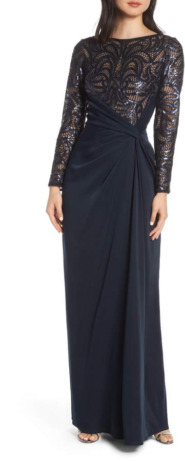 Sequin Lace Jersey Evening Dress