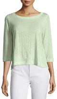 Eileen Fisher 3/4-Sleeve Slub Linen Top