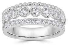Saks Fifth Avenue Diamond and 14K White Gold Three-Row Ring