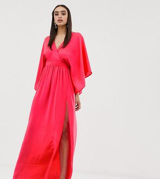 Flounce London wrap front kimono maxi dress with thigh split-Orange