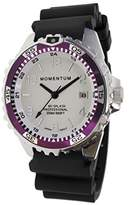 Momentum Women's Quartz Stainless Steel and Rubber Diving Watch, Color:Black (Model: 1M-DN11LE1B)