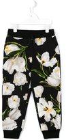 Dolce & Gabbana floral print track pants - kids - Cotton/Spandex/Elastane - 8 yrs