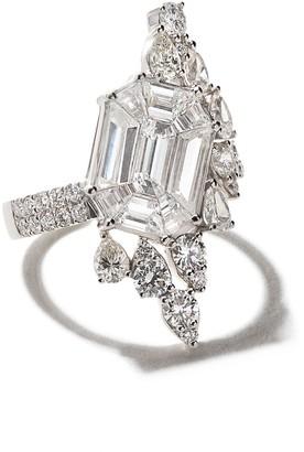 As 29 AS29 18kt white gold Illusion large asymmetrical diamond ring