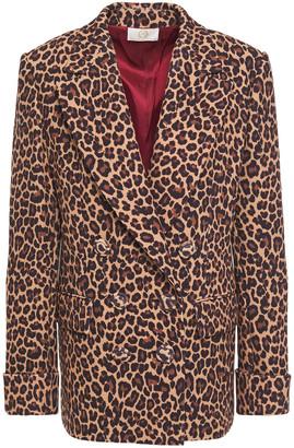 Sara Battaglia Double-breasted Leopard-print Crepe Blazer