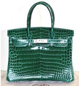 Hermes pristine (PR Emerald Green Vert Fonce Crocodile Porosus 30cm Birkin Bag