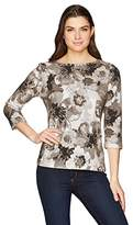 Ruby Rd. Women's Petite Size Embellished Boat Neck Blooming Blossoms Printed Knit Top