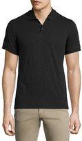 Vince Slub-Knit Short-Sleeve Polo Shirt, Black