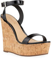 Schutz Eduarda Metallic Leather Cork-Wedge Sandals