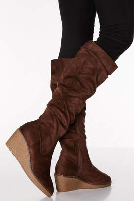 Quiz Chocolate Faux Suede Ruched Knee High Boots