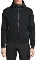 Ralph Lauren Full-Zip Hooded Nylon Jacket with Leather Trim, Black
