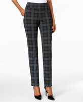 Charter Club Cambridge Plaid Ponte Slim-Leg Pull-On Pants, Only at Macy's