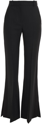 Alexander McQueen Satin-trimmed Wool-blend Crepe Flared Pants
